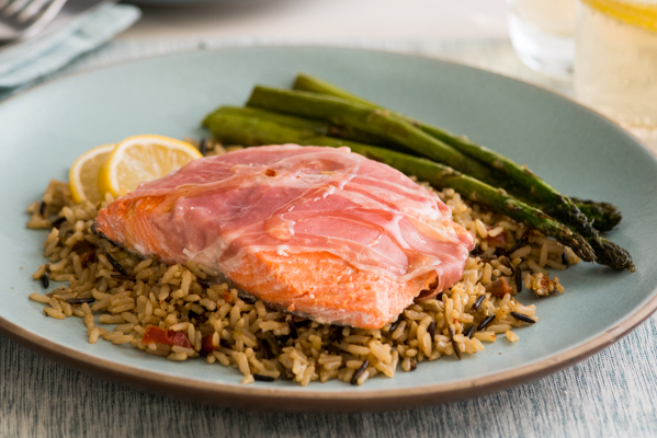 Steamed Sockeye Salmon Wrapped in Prosciutto Recipe
