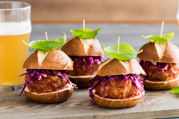Spicy Meatball Sliders with Quick Pickled Cabbage Recipe