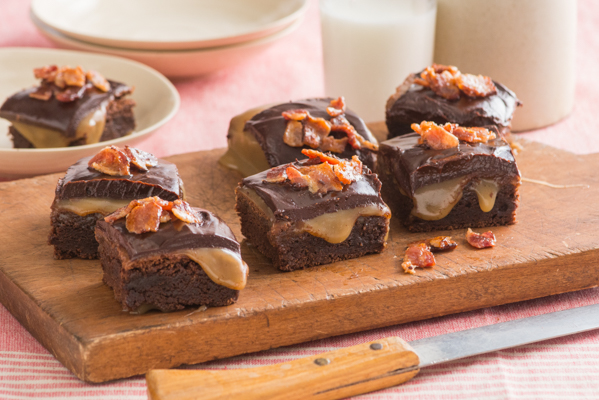 Bourbon Caramel Topped Bacon Brownies Recipe