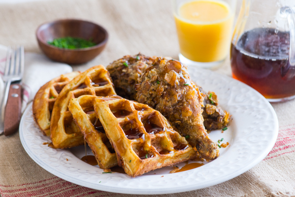 Potato & Chive Buttermilk Waffles with Spicy Sage Oven Fried Chicken Recipe