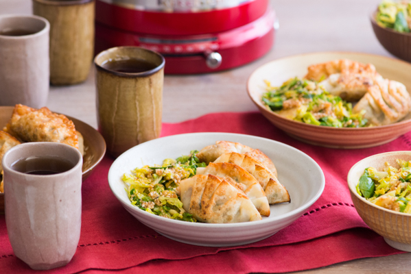 Kale and Mushroom Gyoza with Brussels Sprouts Goma-ae Recipe