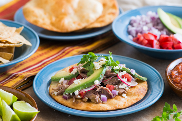 Green Chile Pork Tostadas with Homemade Salsa Recipe