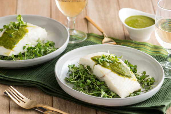 Roasted Halibut with Microgreen Cashew Puree Recipe