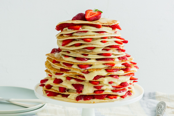 Three-Tiered Crepe Cake with Sliced Strawberries Recipe