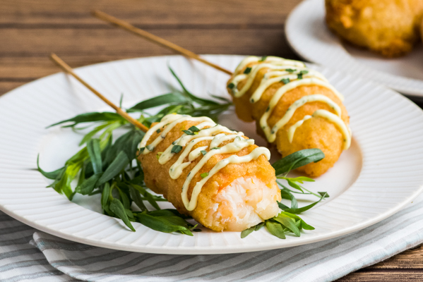Lobster Corn Dogs with Lemon Tarragon Aioli Recipe
