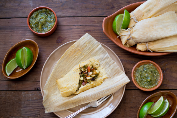 Vegetable Tamales with Roasted Tomatillo Salsa Recipe