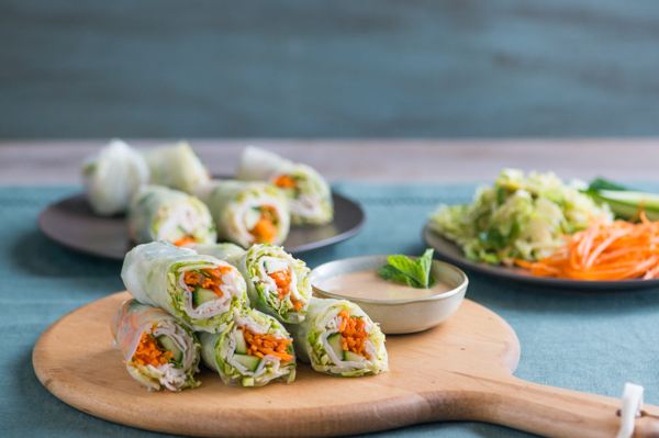 Brussels Sprouts and Turkey Spring Rolls with Peanut Dip Recipe