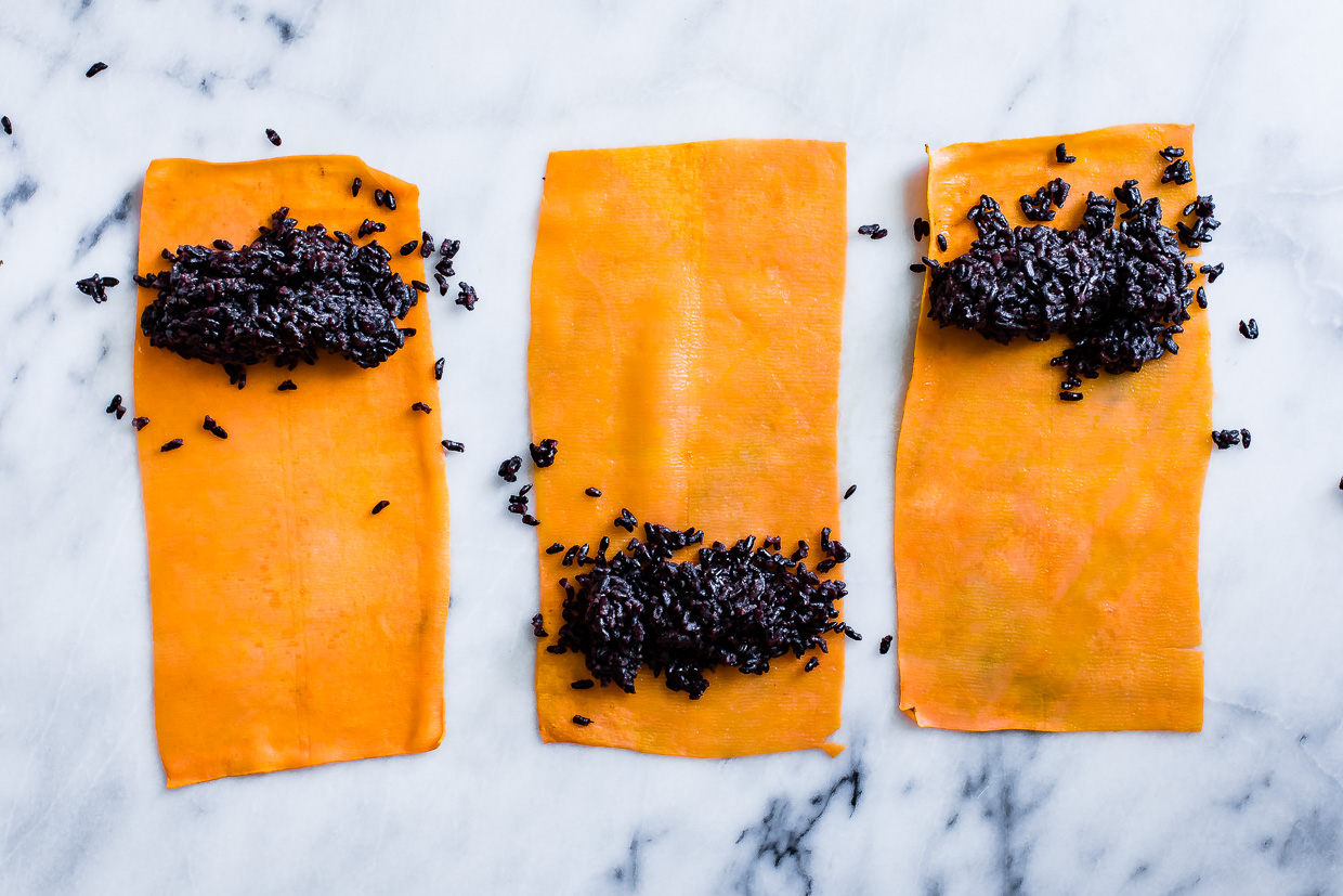 Sweet Potato Forbidden Rice Rolls with Ginger Miso Recipe