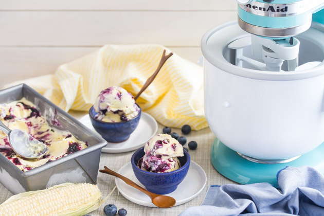 Sweet Corn Ice Cream with Blueberry Swirl