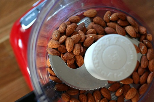 Almonds in processor