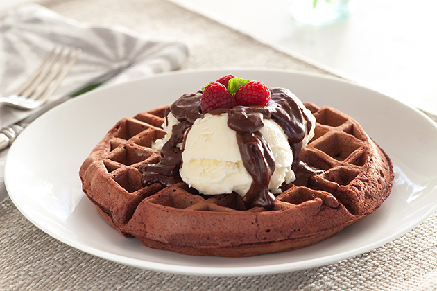 Winter Waffle Sundae with Crème Fraîche Ice Cream
