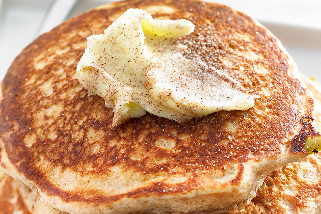 Apple Whole-Wheat Pancakes with Cinnamon Butter Recipe