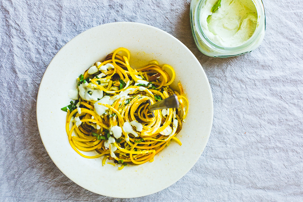 Spiralized Golden Beets with Vegan Almond Mint Sauce