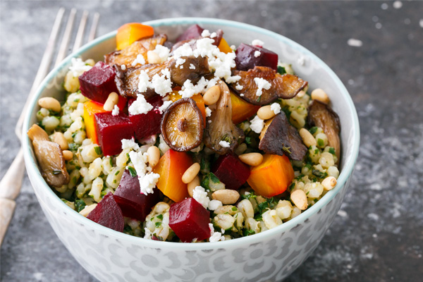 Beet Pesto Barley Bowl with Wild Mushrooms Recipe