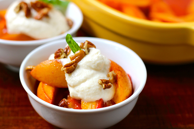 Seasonal Nutrition: Vanilla Roasted Peaches with Ricotta & Pecans