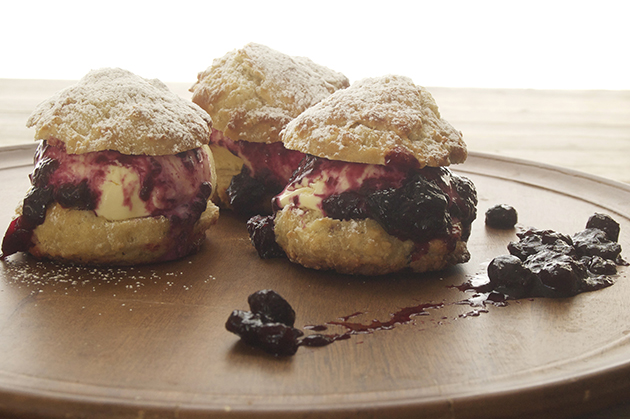 Lemon Ice Cream Shortcakes with Blueberry Compote