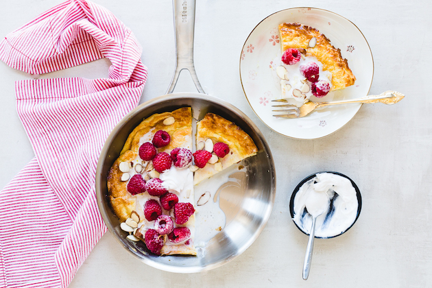 Gluten-Free Dutch Baby with Raspberries and Coconut Cream