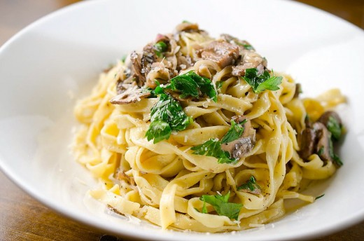 Fresh Pasta with Mushroom Cream Sauce Recipe