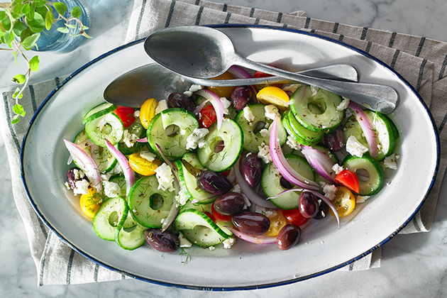 Greek Cucumber Spiral Salad