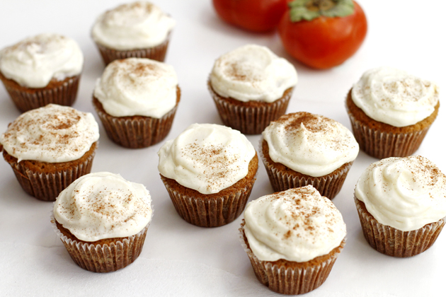 Persimmon Spice Cupcakes with Vanilla Ginger Buttercream Frosting