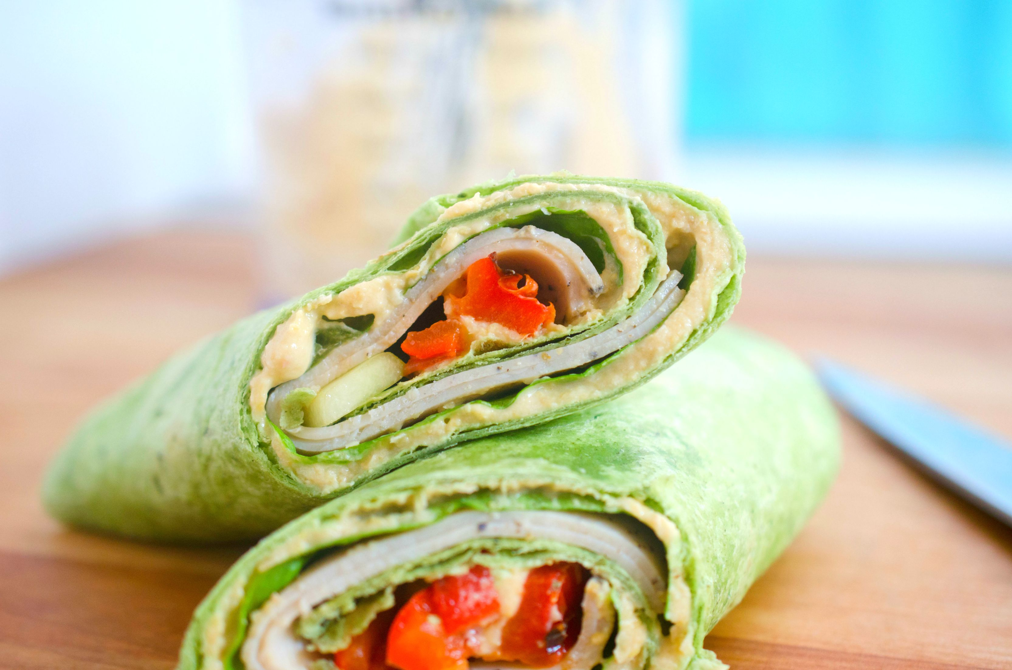 Turkey Hummus Sandwich Wraps