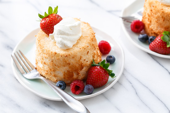 Mini Angel Food Cake with Whipped Cream & Berries