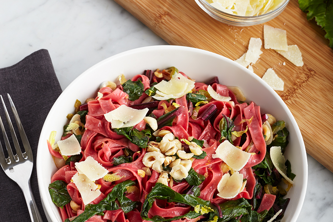 Beet Tagliatelle with Greens Recipe