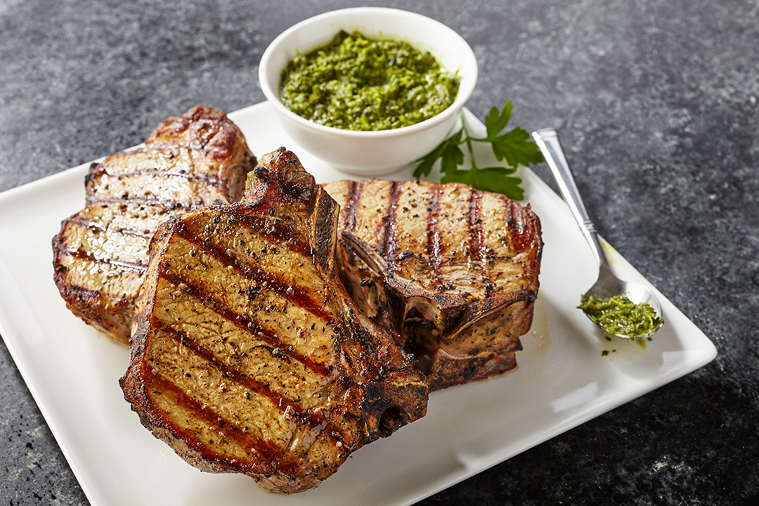 Carrot Top Chimichurri Grilled Pork Chops Reicpe