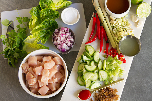 Thai-Style Lemongrass Chicken and Herb Wraps