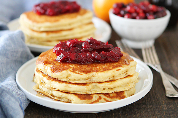 Orange Buttermilk Pancakes with Cranberry Compote Recipe