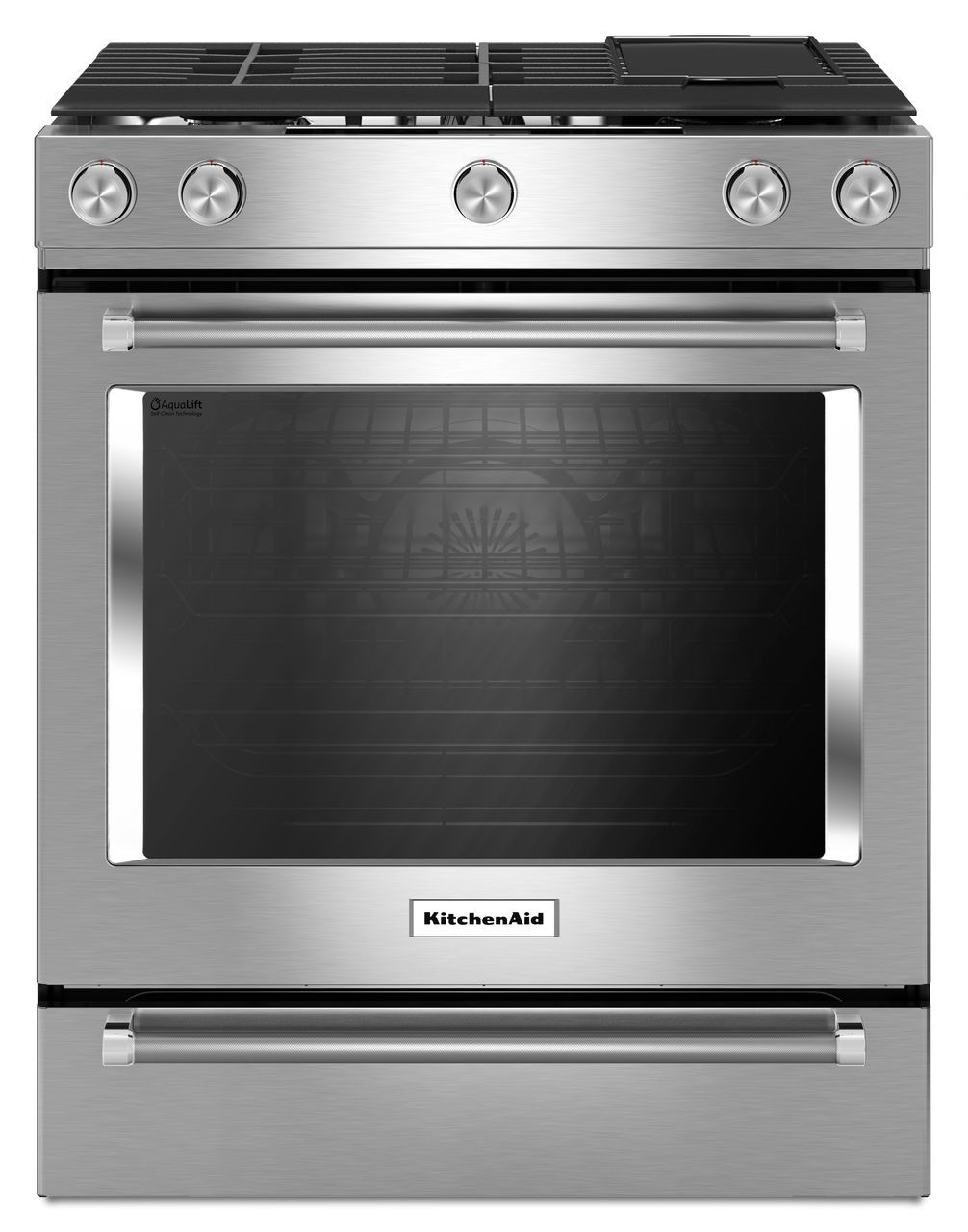 Stainless Steel 30-Inch 5 Burner Gas Convection Slide-In
