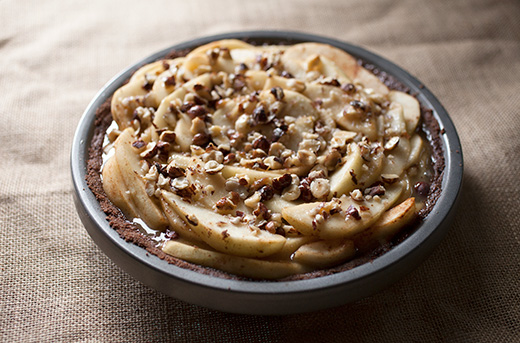 Pear and Hazelnut Salted Caramel Pie with Chocolate Graham Crust