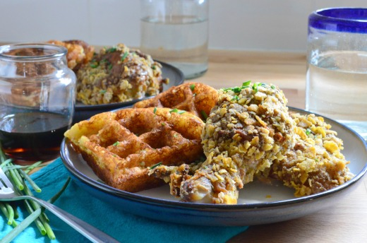 "Potato & Chive Buttermilk Waffles with Spicy Sage Baked ""Fried"" Chicken"