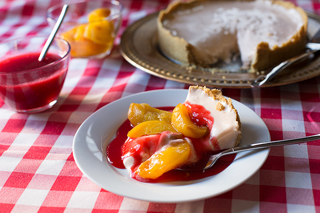 Peach Raspberry Melba No-Bake Cheesecake