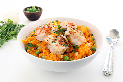 "Butternut Squash ""Rice"" Risotto with Shrimp & Peas Recipe"