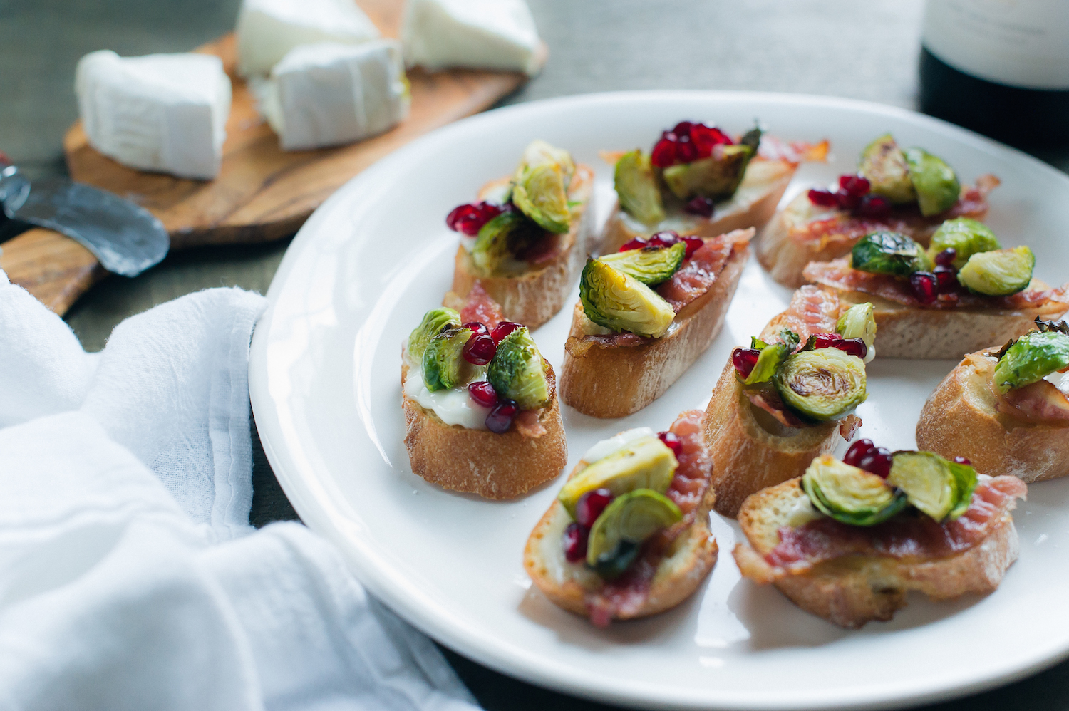 Roasted Brussels Sprouts and Bacon Crostini