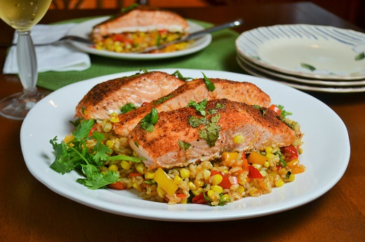 Sweet and Spicy Salmon with Roasted Summer Veggie Rice