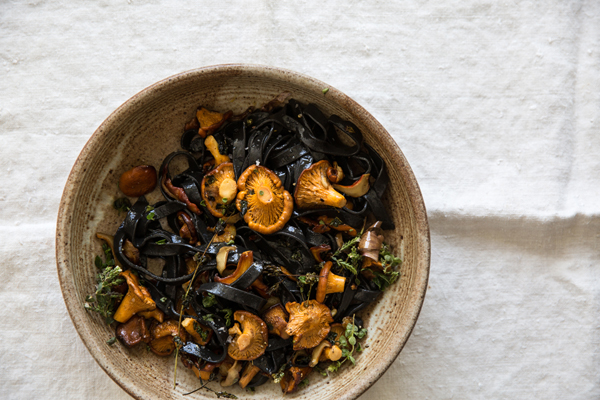 Squid Ink Pasta with Mushrooms
