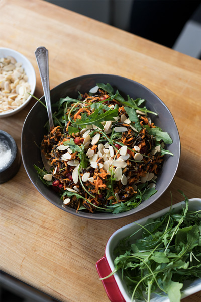 Global Kitchen Series: Shredded Carrot, Arugula, and Wild Rice Salad