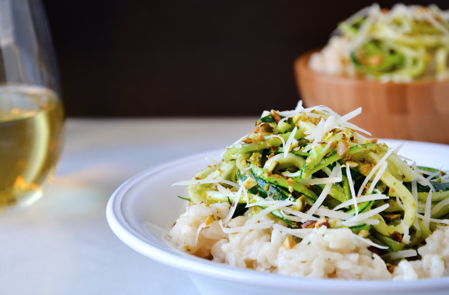 Parmesan Risotto with Zucchini Noodles and Pistachio Pesto