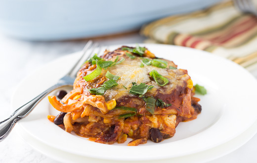 Spiralized Sweet Potato and Apple Enchilada Casserole