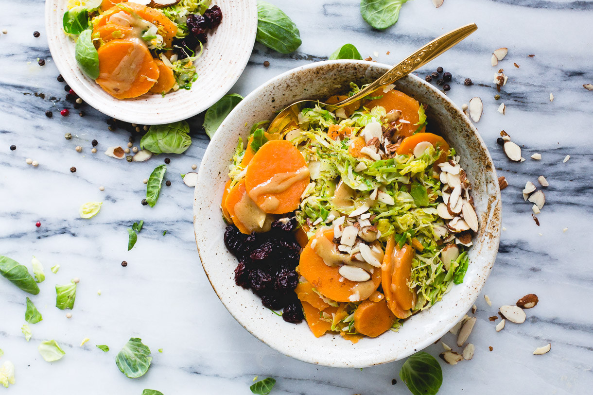 Warm Sweet Potato & Brussels Sprouts Salad with Maple Mustard Dressing