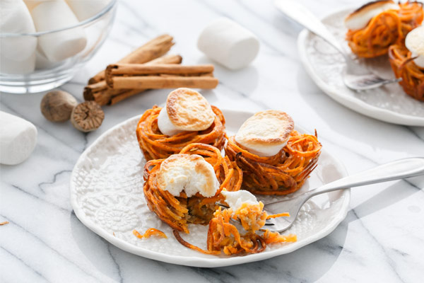 Mini Spiralized Sweet Potato Casseroles Recipe