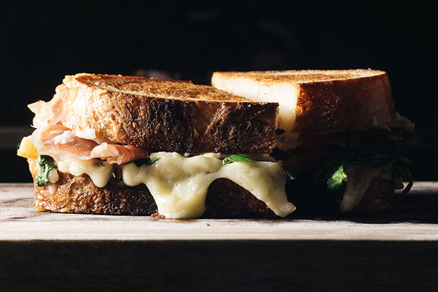 Honeycrisp, Gruyere, Mustard, Prosciutto & Spinach Grilled Cheese