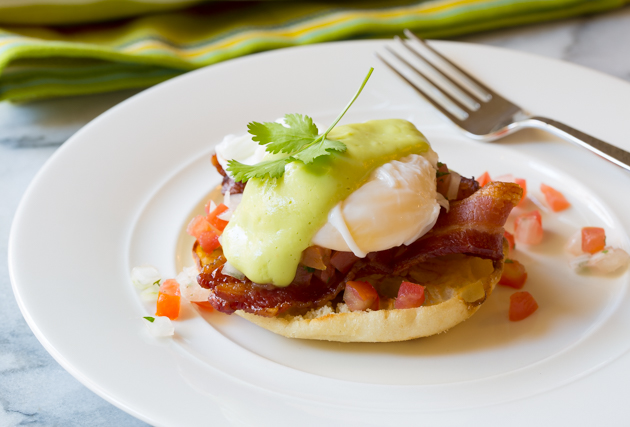 Tex Mex Eggs Benedict with Creamy Avocado Hollandaise