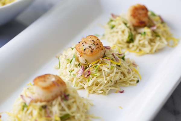 Homemade Capellini with a Lemon Butter Sauce and Seared Scallops Recipe