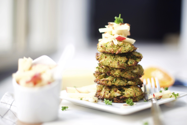 Baked Brussel Sprout Fritters with Citrus Apple Slaw Recipe