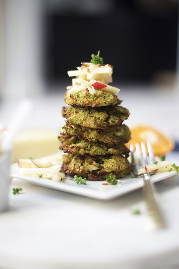 Baked Brussels Sprout Fritters with Citrus Apple Slaw Recipe
