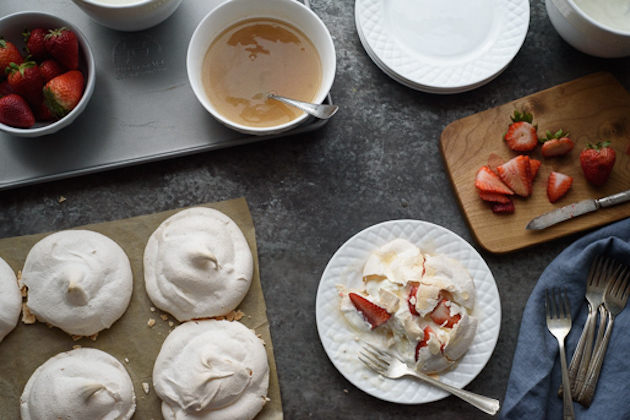 Strawberry Mini Pavlovas with Vanilla Bean Champagne Sauce