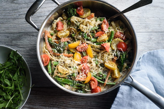 Pasta Primavera with Fresh Basil Egg Pasta